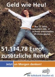 Plakat Volksbank Staufen «Vorsorge»