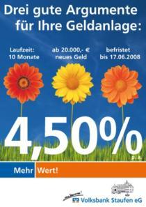 Plakat Volksbank Staufen «Sparen»