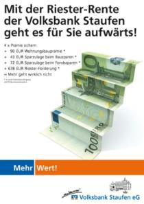 Plakat Volksbank Staufen «Riester-Rente»